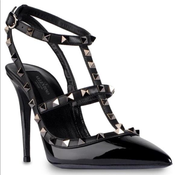 Valentino Rock Stud Heels Black Patent